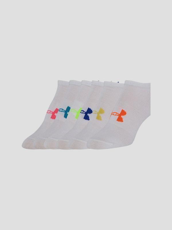 Ponožky Under Armour Girls Solid 6 Pks No Show Bílá