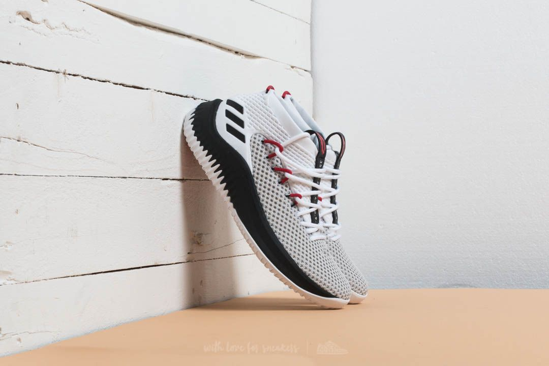 the latest df160 f7489 adidas Dame 4 Ftw White Core Black Scarlet