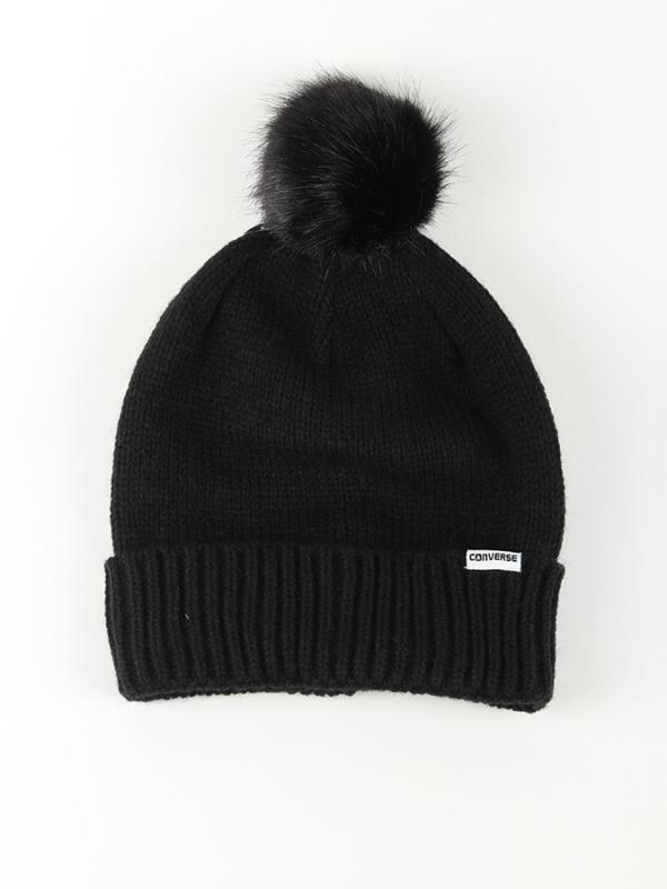 Čepice Converse Fur Pom Knit Černá