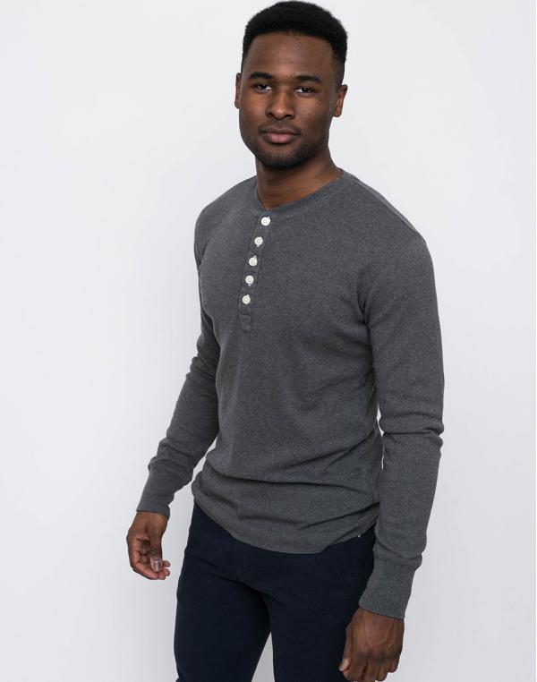 Knowledge Cotton Rib Henley 1073 Dark Grey Melange S