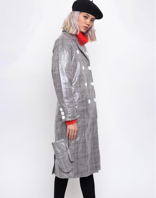 House of Sunny Long Tailored Nostalgia Trench Controlled Check 36