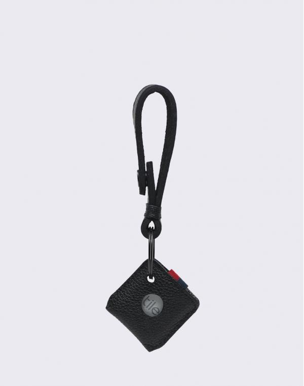 Herschel Supply Keychain + Tile Black Pebbled Leather