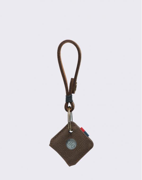 Herschel Supply Keychain + Tile Brown Pebbled Nubuck
