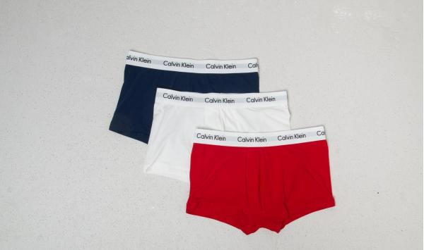 Calvin Klein Low Rise 3 Pack Trunks Red/ White/ Navy