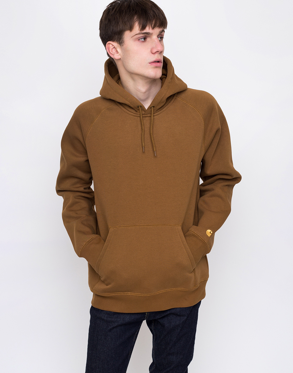 1d9df66e46 Carhartt WIP Hooded Chase Sweat Hamilton Brown   Gold L