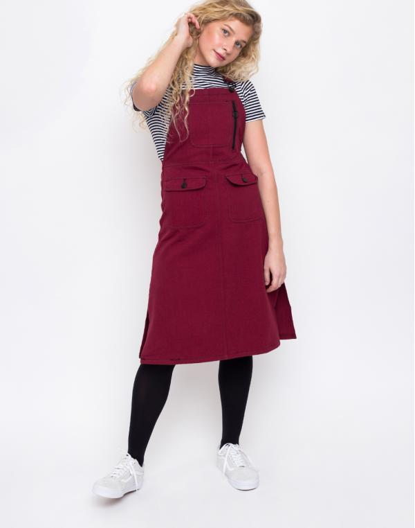 Lazy Oaf Contrast Stitch Pinafore Red XS