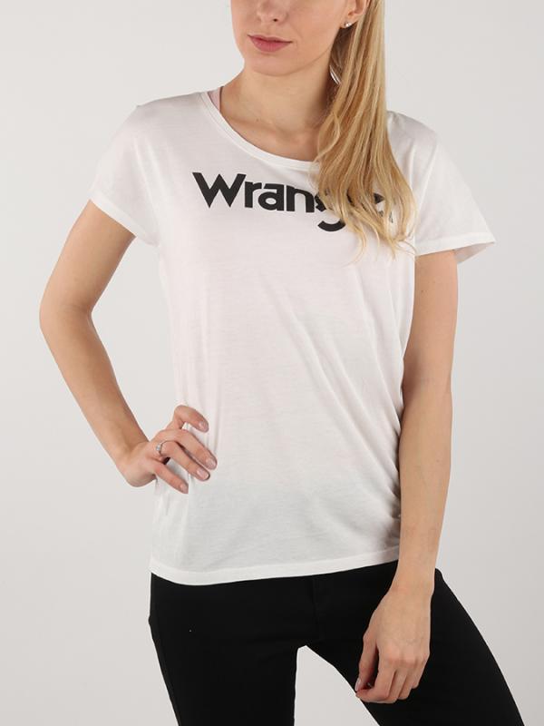 ef43516c6051 Tričko Wrangler Logo Tee Offwhite Bílá