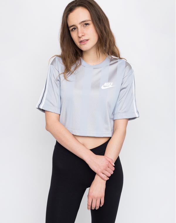 Nike Sportswear Shadow Stripe Top Wolf Grey/White M