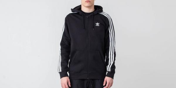 adidas Originals 3-Stripes FZ Hoodie Black