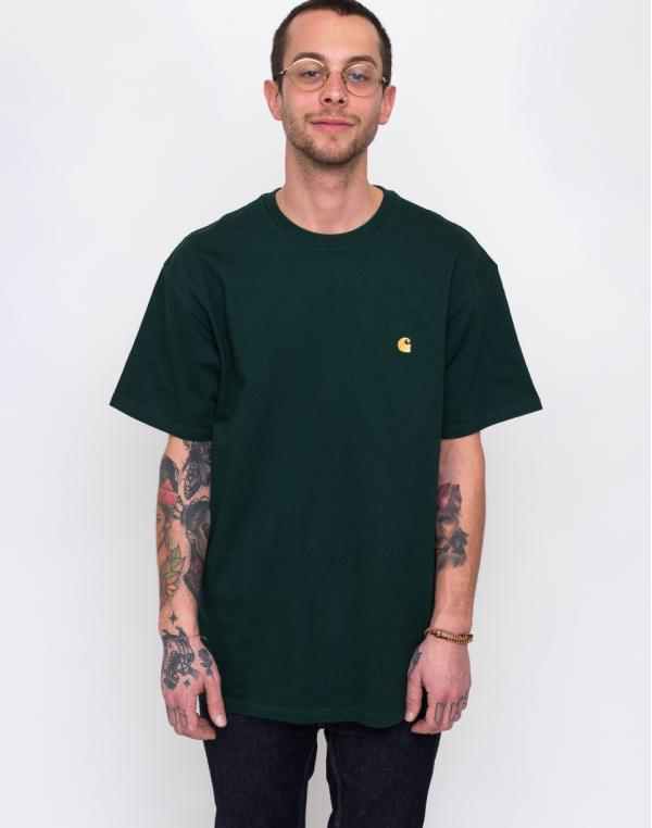 Carhartt WIP Chase T-Shirt Bottle Green/Gold L