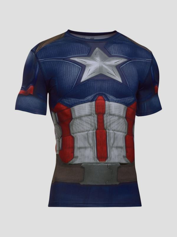 Kompresní tričko Under Armour Heatgear Captain America Suit SS Modrá