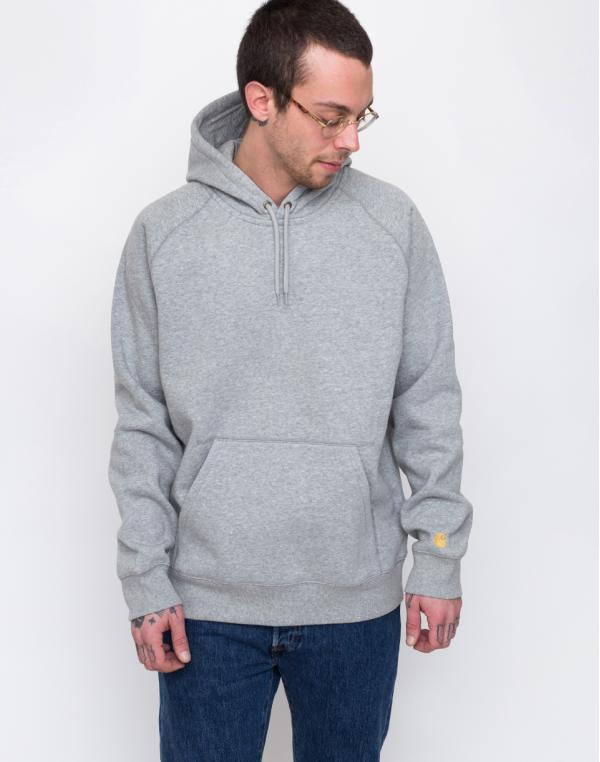 Carhartt WIP Hooded Chase Sweat Grey Heather / Gold L