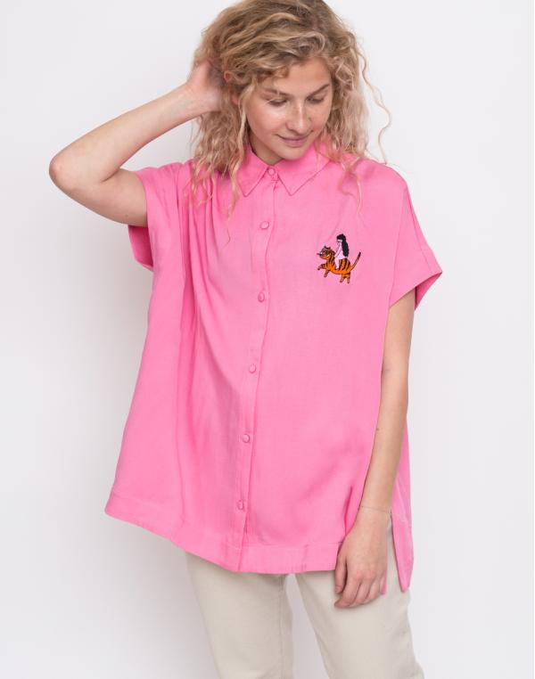 Lazy Oaf Nowhere Tiger Shirt Pink M
