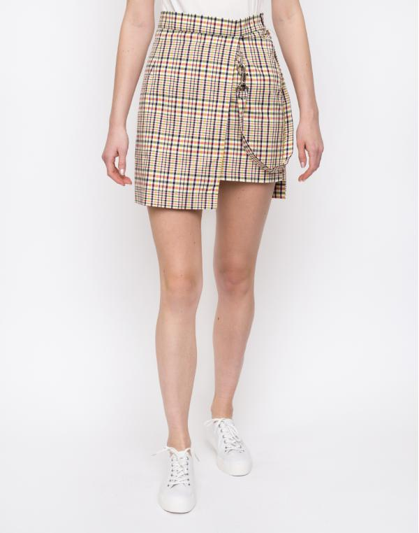 The Ragged Priest Check Double Layer Mini Skirt Yellow/Red/Black S