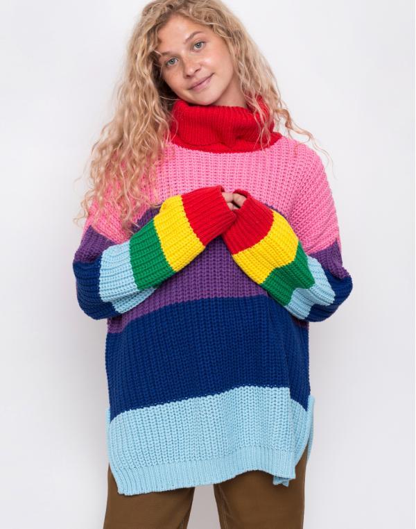 Lazy Oaf Lazy Rainbow Knit Roll Neck Multi S