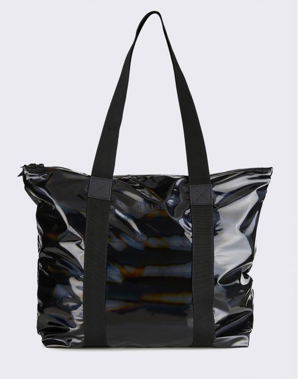 Rains Holographic Tote Bag Rush 25 Holographic Black