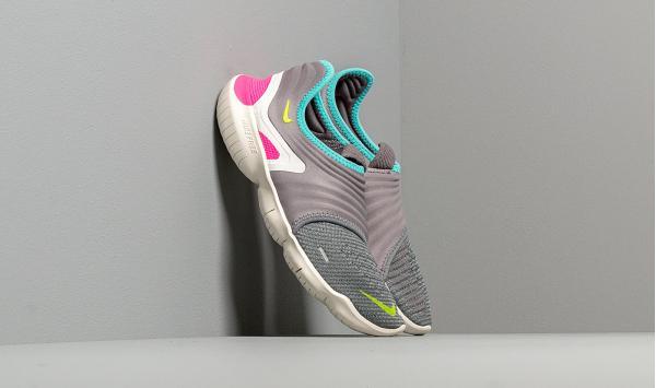 Nike Wmns Free Run Flyknit 3.0 Gunsmoke/ Volt-Aurora Green