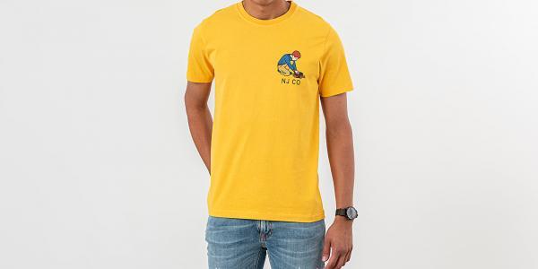 Nudie Jeans Roy Multi Logo Boy Tee Dandelion