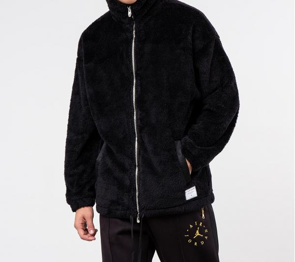 Jordan Black Cat Sherpa Coaches Jacket Black/ Black