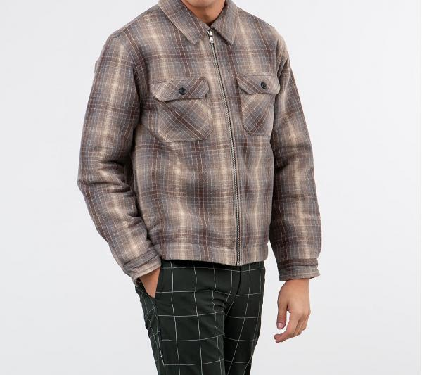 Stüssy Heavy Brush Plaid Zip Up Shirt Jacket Grey