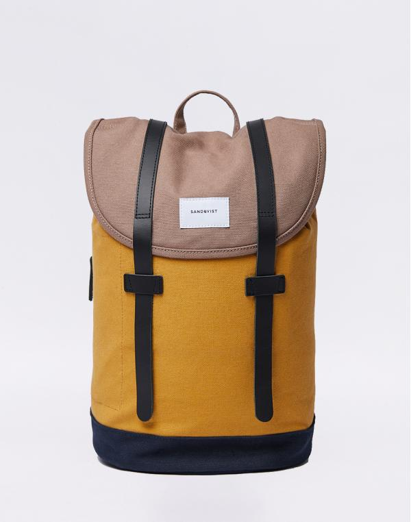 Sandqvist Stig Multi Earth Brown / Honey Yellow / Navy with Natural Leather
