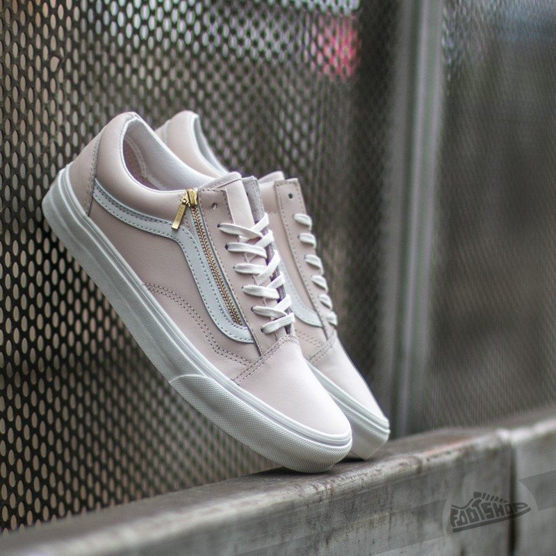 Vans Old Skool Zip Leather White Spring Powter  Blanc De Blanc ... eed08ee5d07