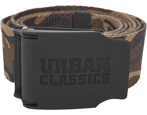 pásek Urban Classics Rubbered Touch UC/TB2171 - Wood Camouflage 120 cm