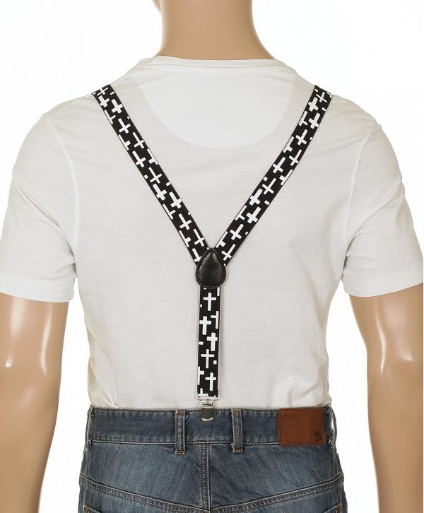 kšandy Mohity Suspenders Simple Cross - Black/White one size