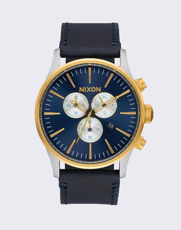 Nixon Sentry Chrono Leather Gold Blue Sunray