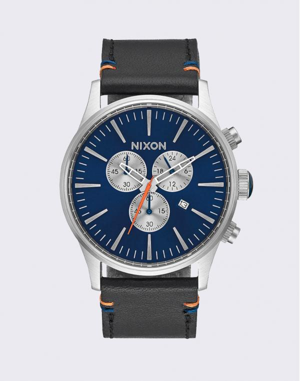 Nixon Sentry Chrono Leather Blue Sunray