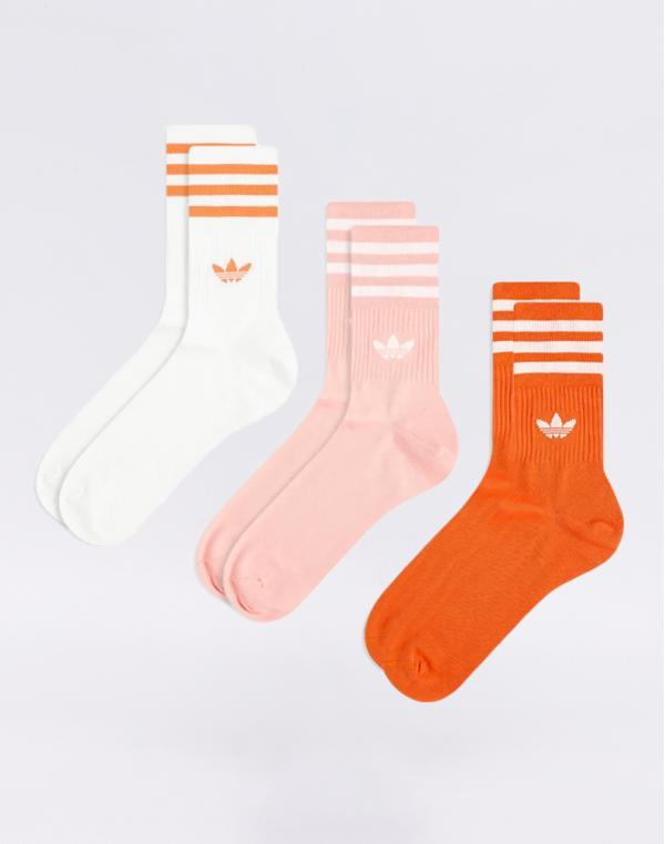 adidas Originals Mid Cut Crew Sock Glory Amber/ Glory Pink/ White 39-42