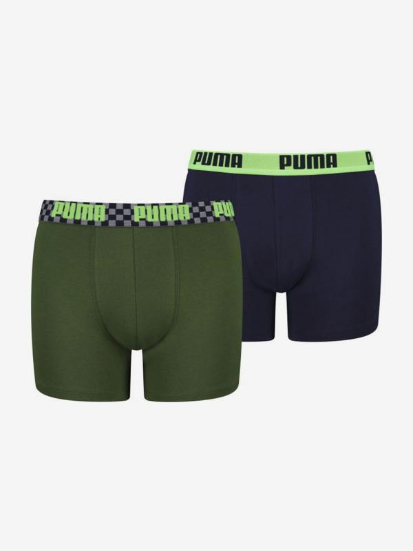 Boxerky Puma Boxer 2 Pack Seasonal Race Blocks Boys Barevná