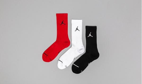 Jordan Jumpman 3 Pack Crew Socks Black/ White/ Gym Red