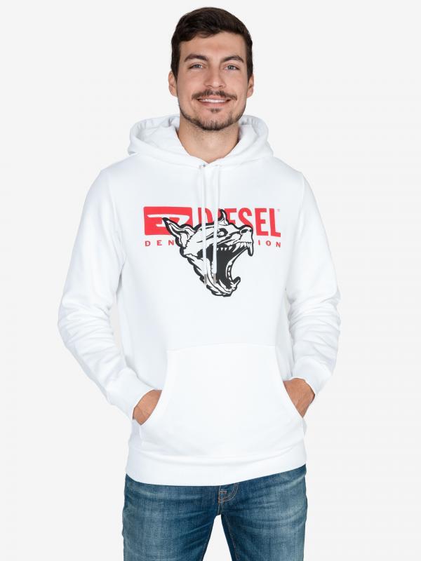 S-Gir-Hood-BX1 Mikina Diesel Bílá