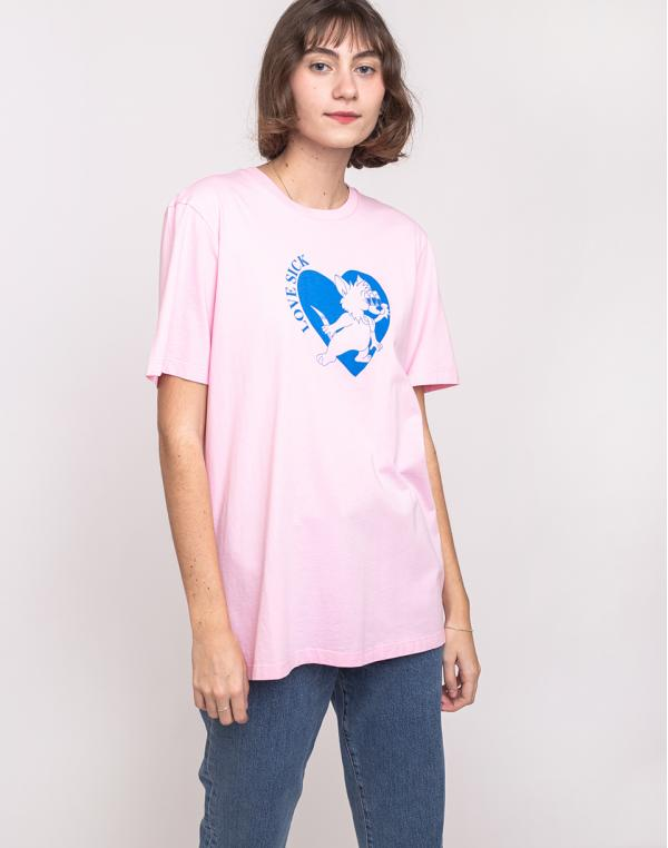 Lazy Oaf Lovesick Kitty T-shirt Pink M