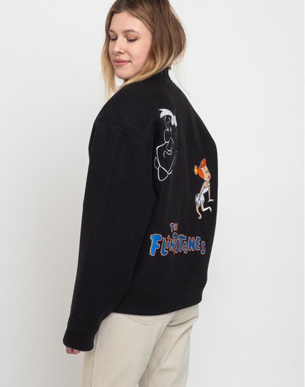 Lazy Oaf Flintstones Character Bomber Jacket Black S