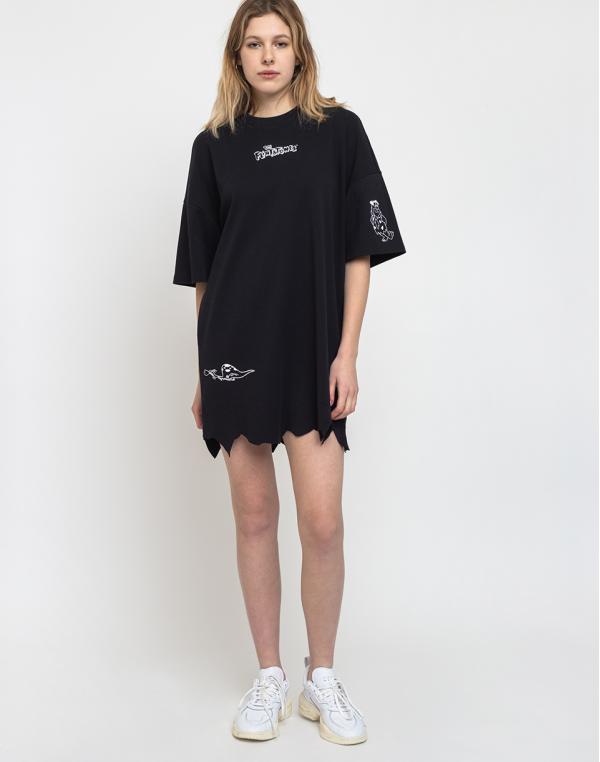 Lazy Oaf Flintstones Torn Hem Tshirt Dress Black S