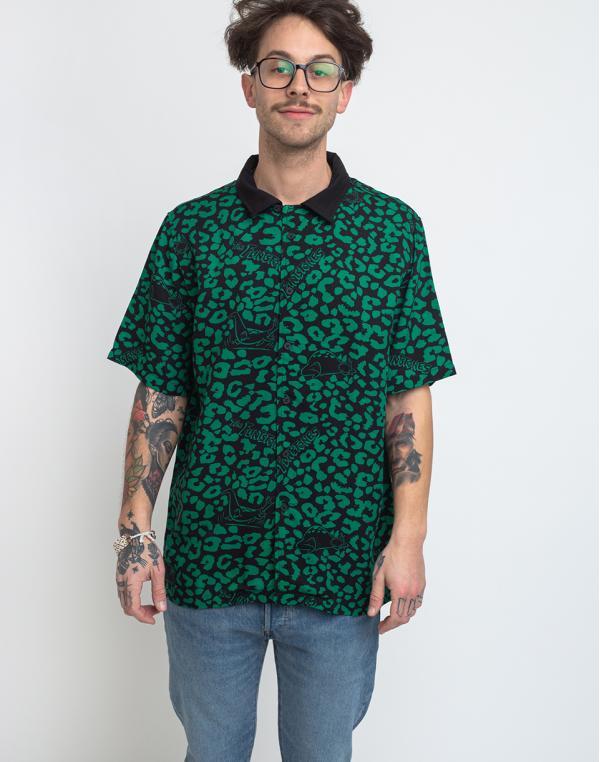 Lazy Oaf Flintstones Dino Leopard Bowling Shirt Green/Black XS