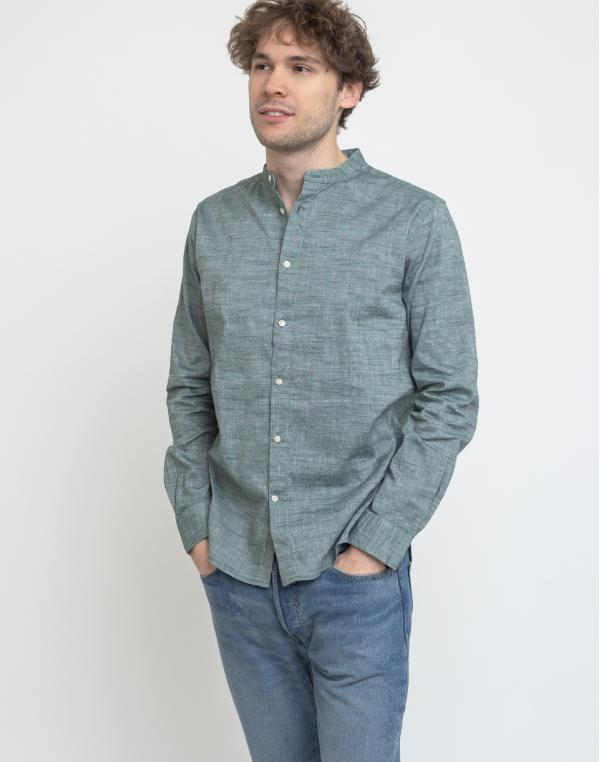 Knowledge Cotton Larch Long Sleeve Linen Stand Collar Shirt 1294 Pineneedle S