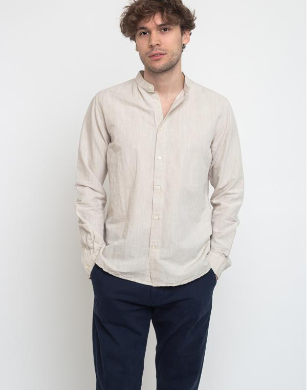 Knowledge Cotton Larch Long Sleeve Linen Stand Collar Shirt 1228 Light Feather Gray S