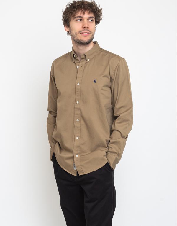 Carhartt WIP L/S Madison Shirt Leather/Dark Navy L