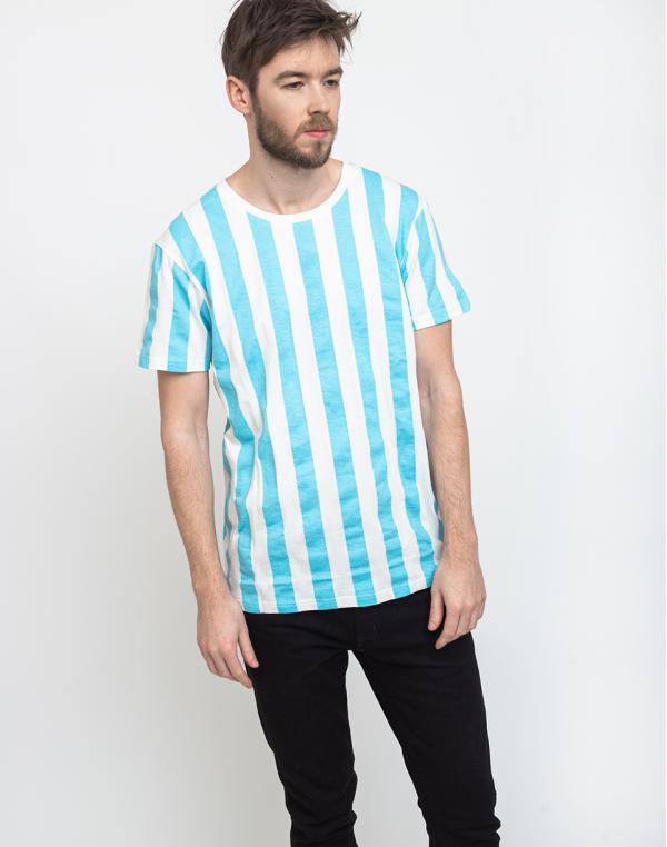 Dedicated T-shirt Stockholm Big Stripes Light Blue M