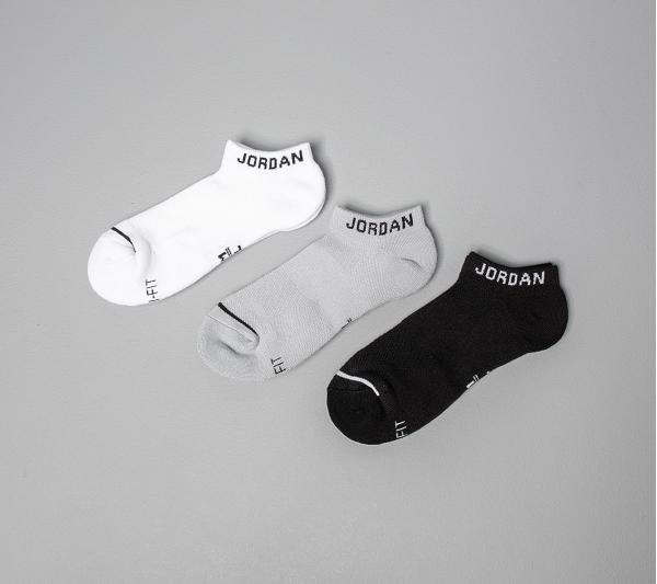 Jordan Everyday Max No Show 3 Pair Socks Black/ White/ Wolf Grey