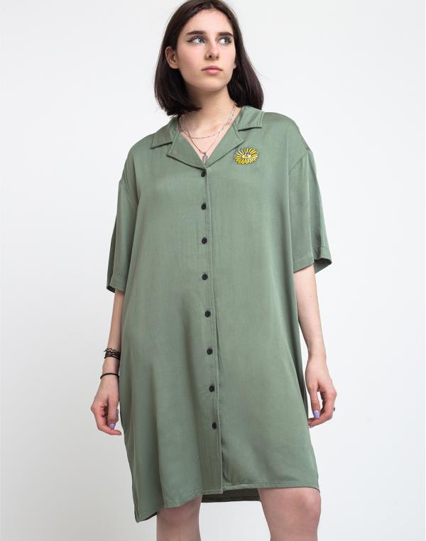 Lazy Oaf Dancing Flowers Shirt Dress Green XS
