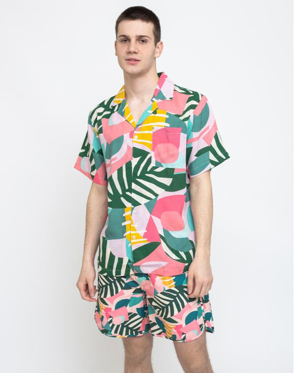 Dedicated Shirt Short Sleeve Marstrand Collage Leaves Pink S