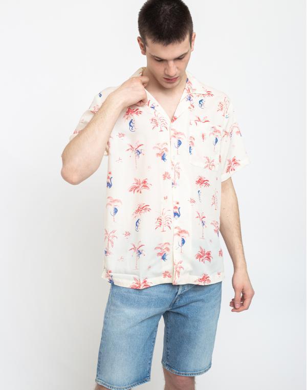 Dedicated Shirt Short Sleeve Marstrand Monkey Trees Off-White S