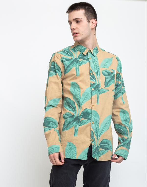 Dedicated Shirt Varberg Khaki Leaves Green S