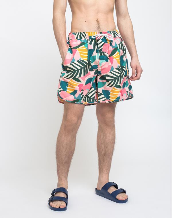 Dedicated Swim Shorts Sandhamn Collage Leaves Pink M