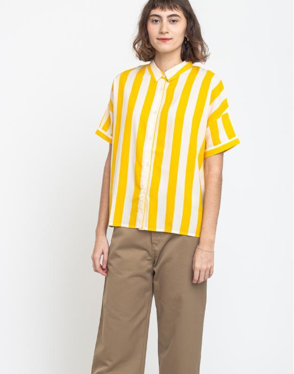 Dedicated Shirt Short Sleeve Nibe Big Stripes Yellow XS
