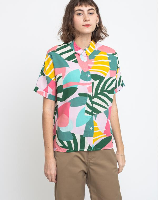Dedicated Shirt Short Sleeve Nibe Collage Leaves Pink S